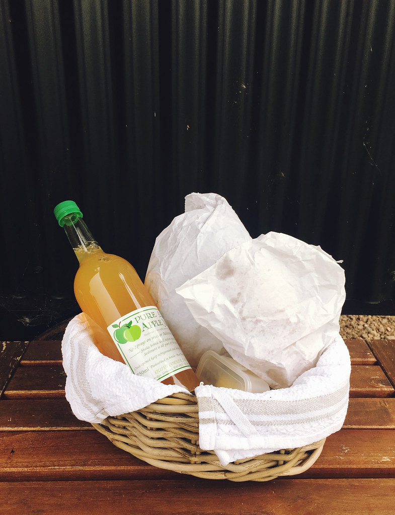 Plankbridge Shepherd's Hut, Colber Farm Happy Hare, canopy and stars, being little bristol travel lifestyle blog blogger lyzi breakfast hamper apple juice