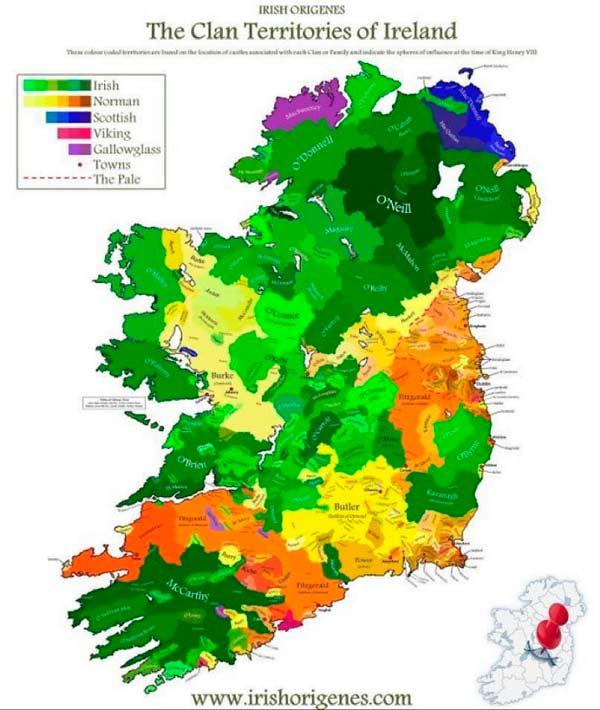 Map of Clan Territories of Ireland