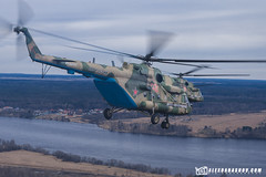 Helicopters Mil Mi-8 during training of the air part of the Victory Parade by The best from aviation