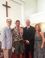 Rep. Arthur O'Neill congratulates Eagle Scout Nick Pietrini and his parents, Anthony and Julie Pietrini, after Nick's Court of Honor.
