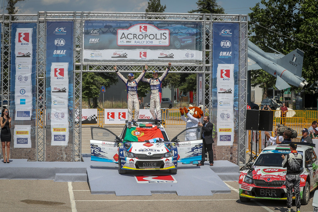 MAGALHAES Bruno (prt), MAGALHAES Hugo (prt), SKODA FABIA R5, portrait podium ambiance during the European Rally Championship 2018 - Acropolis Rally Of Grece, June 1 to 3 at Lamia - Photo Alexandre Guillaumot / DPPI