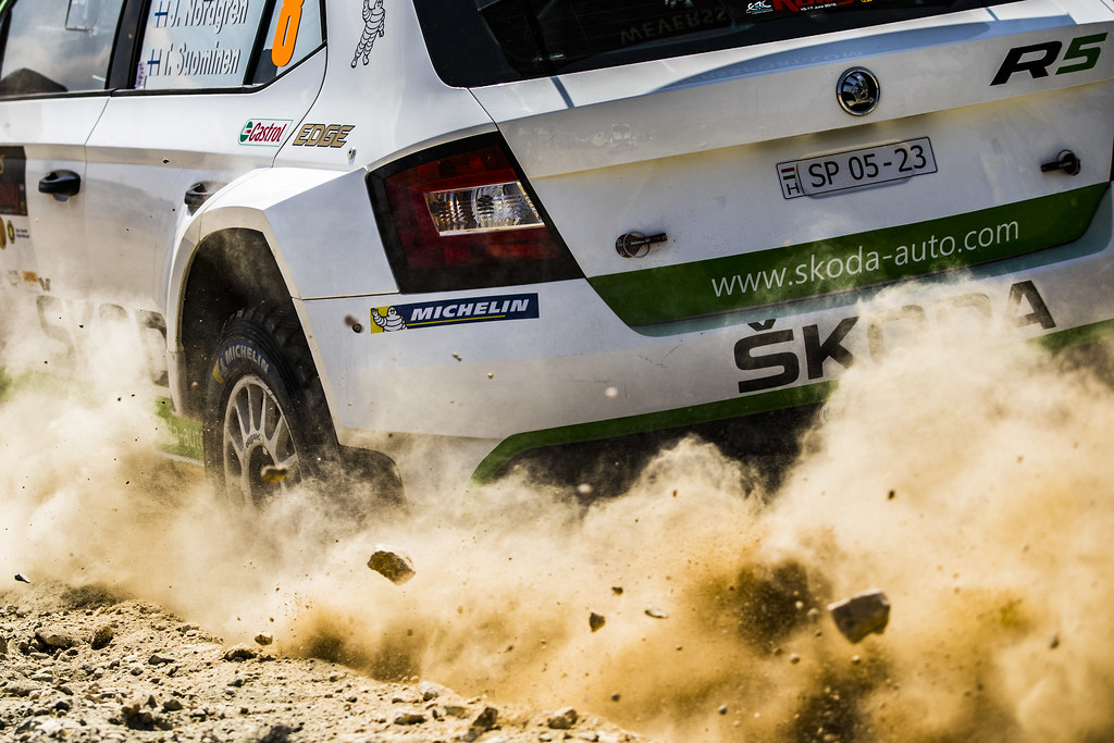 08 NORDGREN Juuso (FIN), SUOMINEN Tapio (FIN), JUUSO NORDGREN, SKODA FABIA R5, action michelin details during the 2018 European Rally Championship ERC Cyprus Rally,  from june 15 to 17  at Larnaca, Cyprus - Photo Gregory Lenormand / DPPI