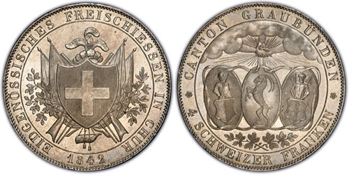 1842 Swiss 4 Francs issued by Chur