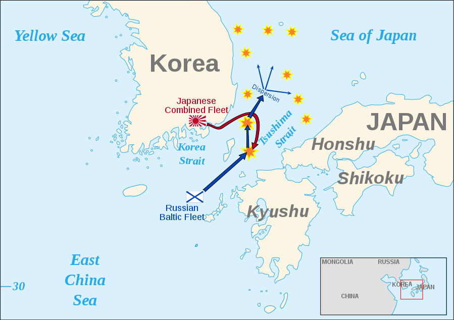 Routes of the Russian and Japanese fleets in the days leading up to the battle.