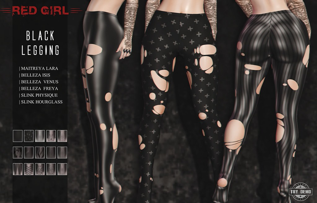 [RED GIRL] Black Legging - NEW!!! - TeleportHub.com Live!
