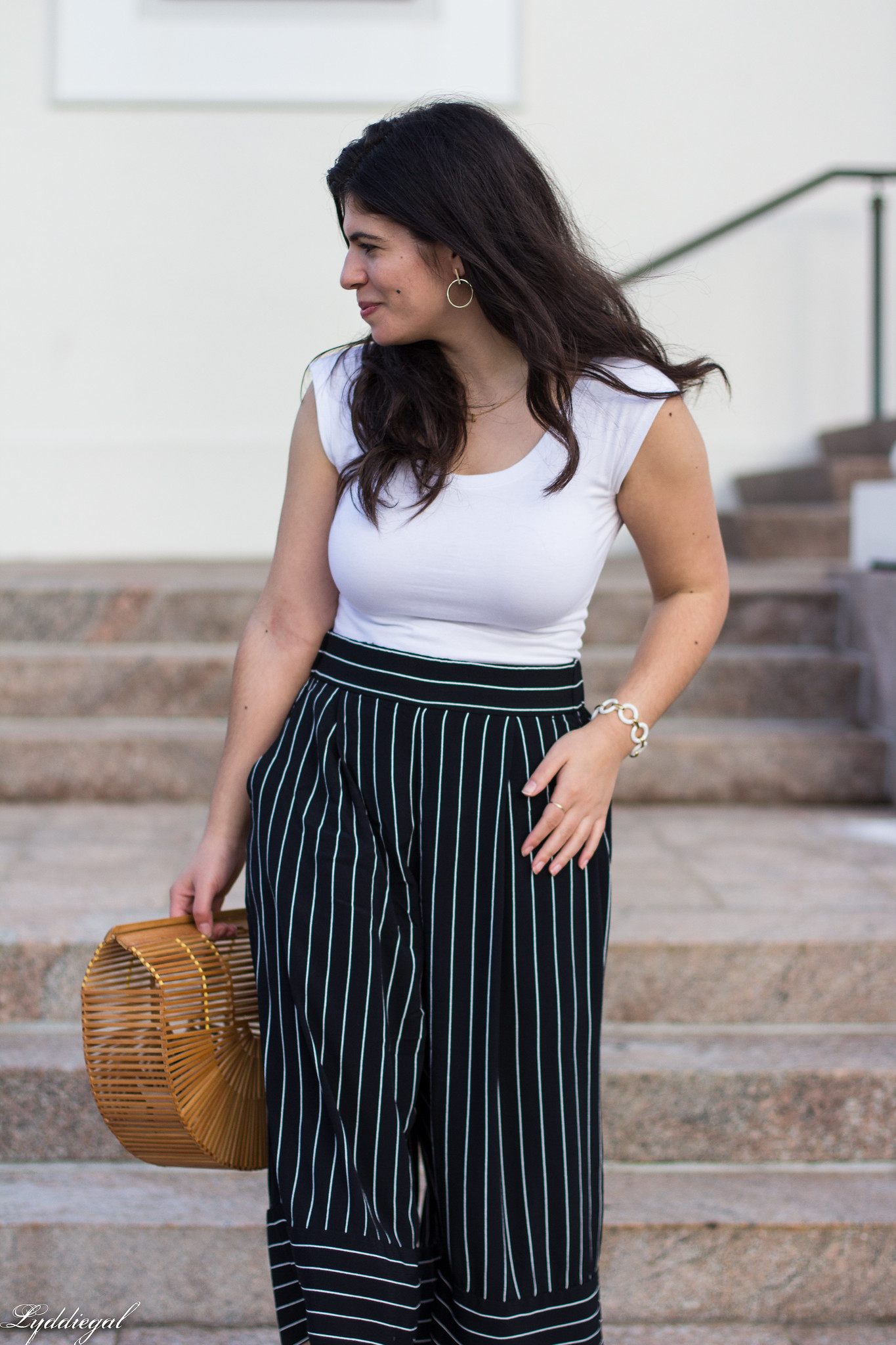 white bodysuit, black and white striped culottes, bamboo bag, black slides-10.jpg