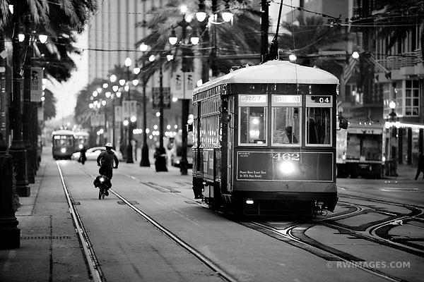 NEW ORLEANS STREET CAR CANAL STREET NEW ORLEANS BLACK AND WHITE