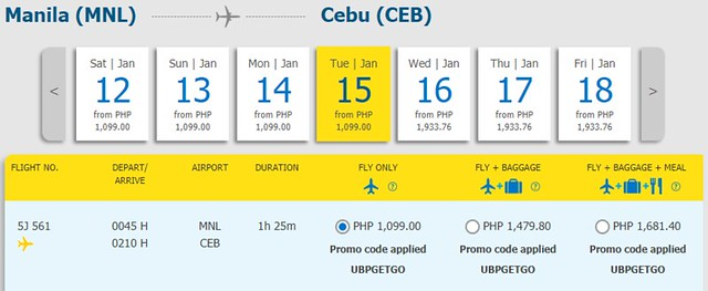 Manila to Cebu Cebu Pacific Promo January 15, 2019