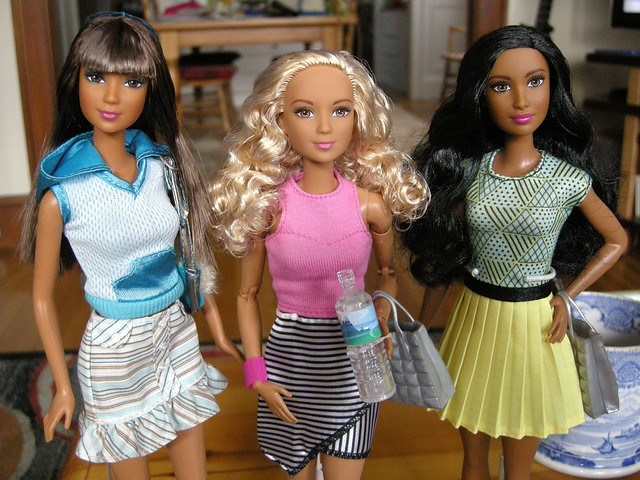 Made to Move Blonde Barbie in Striped skirt, and Fashion Fever Kayla in striped skirt