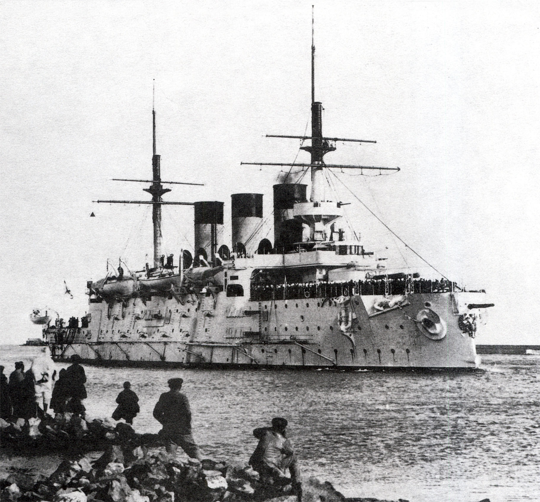 First ship sunk in the Battle of Tsushima on May 27, 1905 - Imperial Russian Ironclad warship Oslyabya, photographed at Bizerte, Tunisia, on December 27, 1903.
