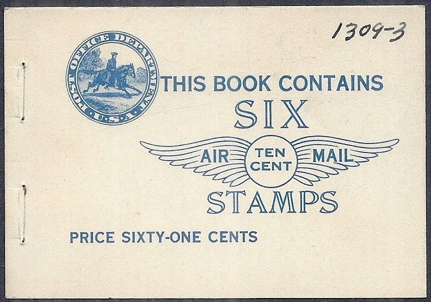 Cover of the booklet which held 2 panes of Scott #C10a (1928), the booklet panes of the 10-cent Lindbergh airmail stamp.