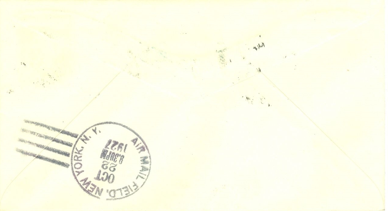 Air Mail Field, New York, arrival handstamp on the reverse of the above cover. Same-day service in 1927!