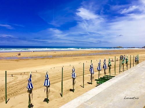 Tiempo de hoy al medio dia en la playa de Zarautz