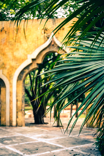 Arches at the central place in Valladolid, Yucatan, Mexico