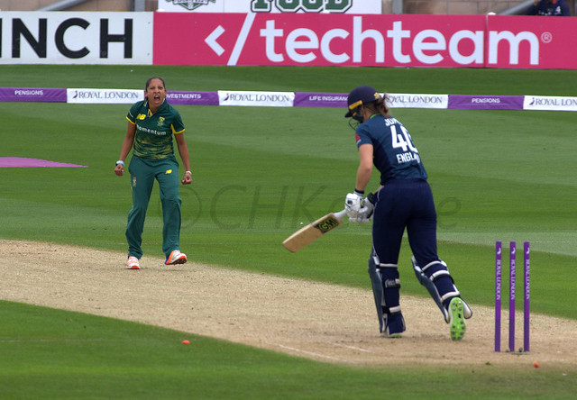 _IGP5441 Amy Jones bowled by  Shabnim Ismail Eng v SA 1st ODI, ICC Women's Championship at Worcester, Jun 9 2018