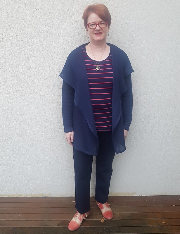 Style Arc Laura cardigan, Parker ponte pants, and SBCC Tonic 2 Tee