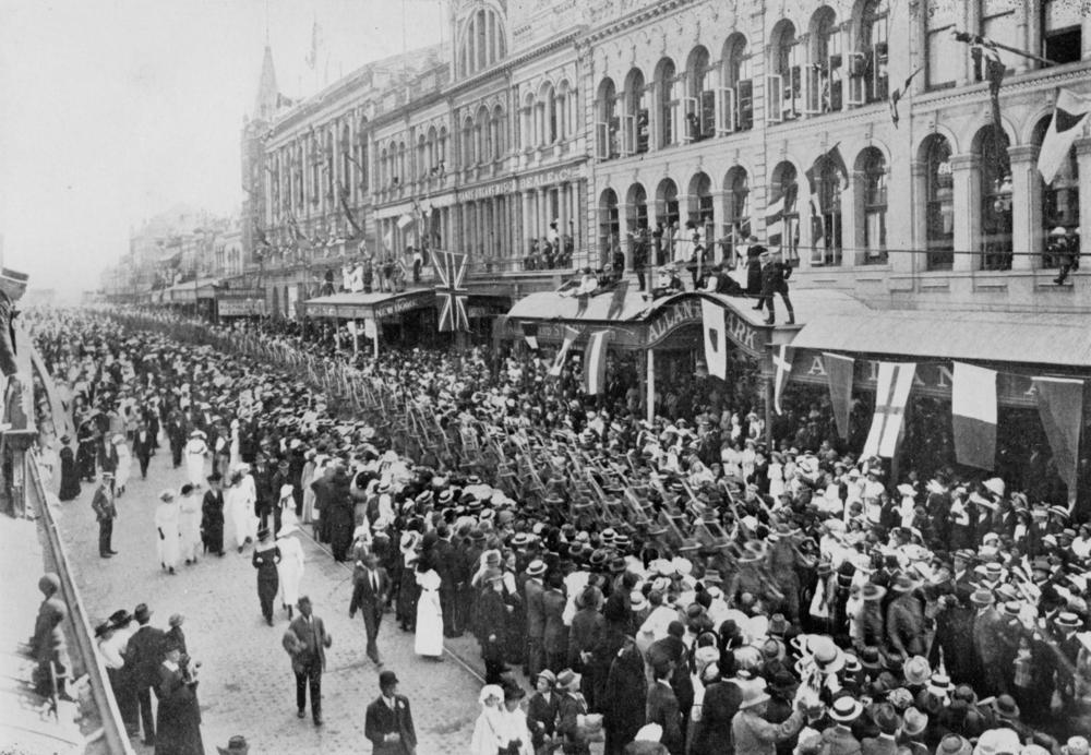 Military parade of the 1st Contingent, marching in Queen Street, Brisbane, 1914.