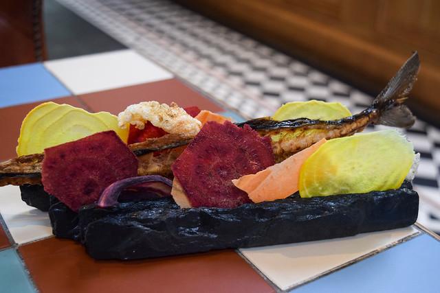 Unami Mackerel Bone and Beetroot Crisps at Yashin Ocean House, Kensington #sushi #london #kensington
