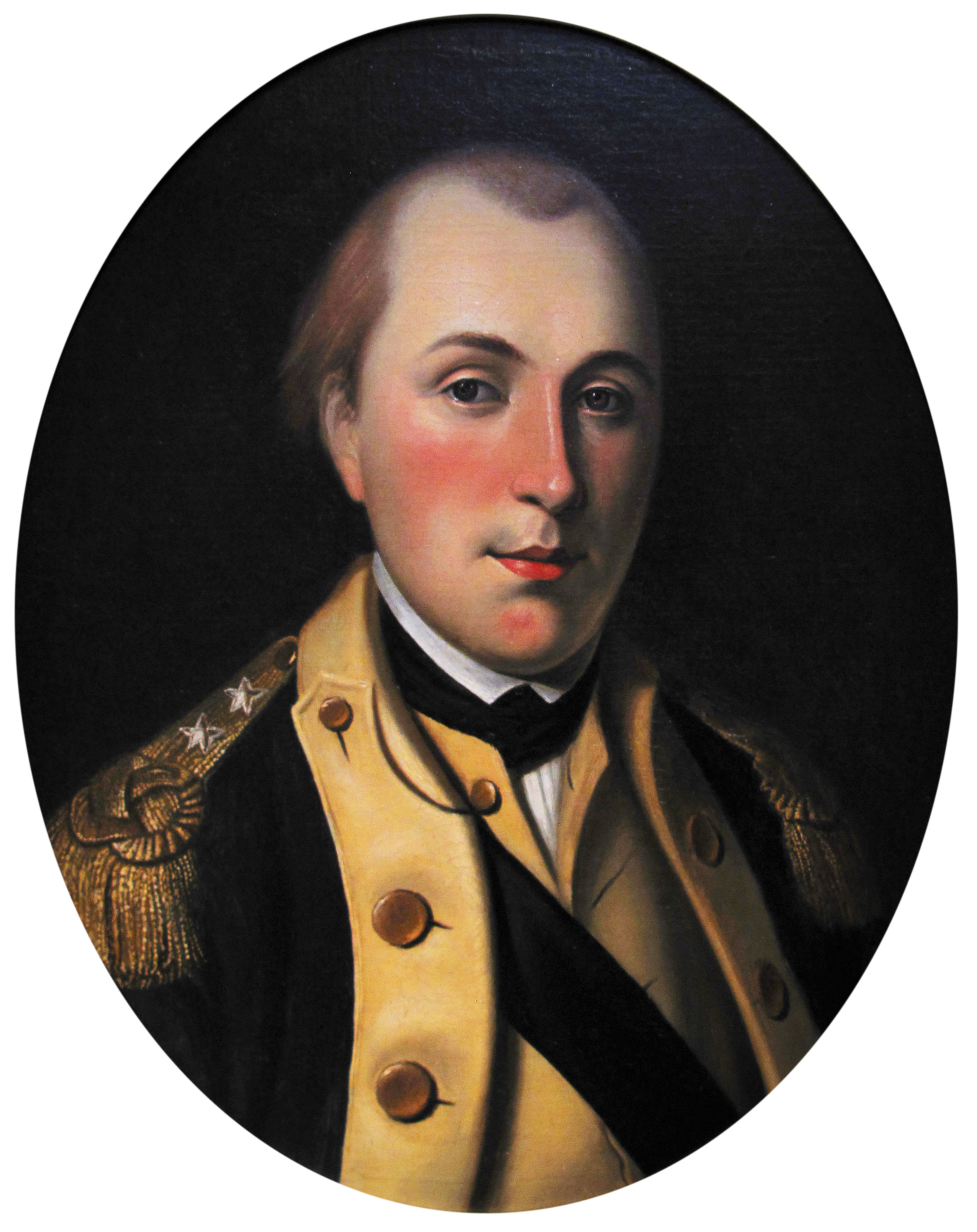 The young Marquis de Lafayette wears the uniform of a major general of the Continental Army. Painting by Charles Willson Peale, 1780.