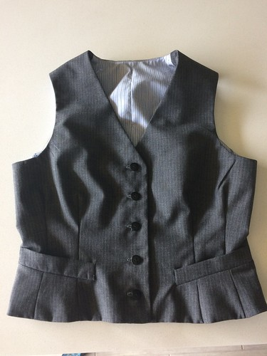 Gray Wool Vest - B6339 resized for a woman