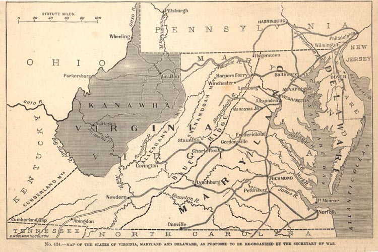 1862 Map Showing the Proposed State of Kanawha, from Frank Leslie's Pictorial History of the American Civil War, 1862 (Ma61- 25)
