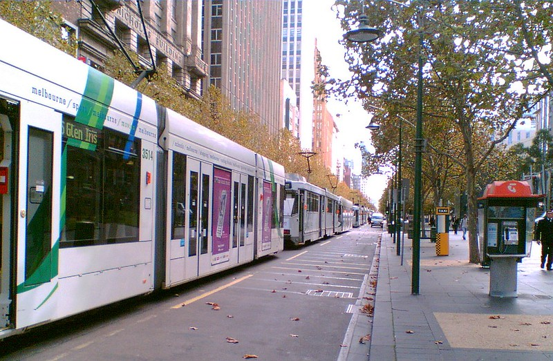 Trams queued up due to a protest, 16/5/2008