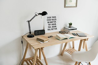 Wooden Desk With Books On Top - Credit to http://homedust.com/ | by Homedust
