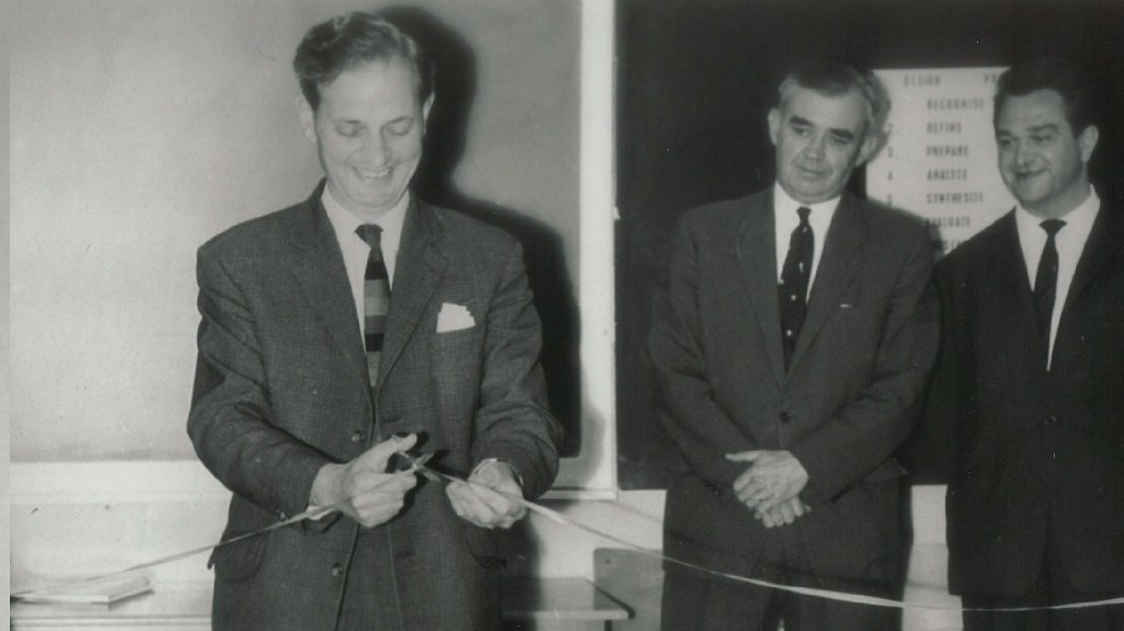 Joseph Black opening the first annual School of Engineering Design & Project Exhibition, Summer 1965 (UPC/MISC/502)