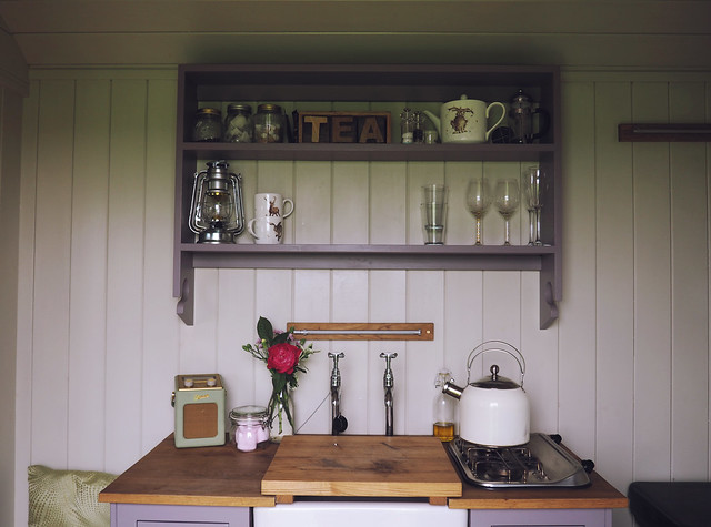 Plankbridge Shepherd's Hut, Colber Farm Happy Hare, canopy and stars, being little bristol travel lifestyle blog blogger lyzi kitchen kitchenette