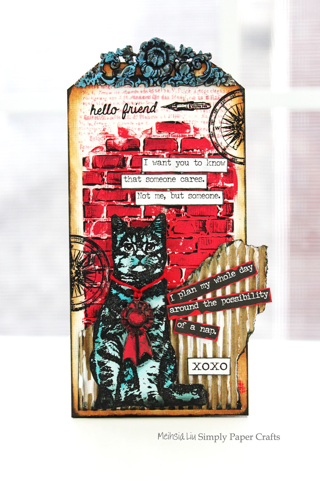 Meihsia Liu Simply Paper Crafts Mixed Media Tag Red White Blue Cat Simon Says Stamp Tim Holtz DarkRoom Door 1