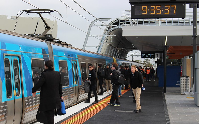 Citybound train at Murrumbeena skyrail station