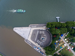 Mosel river joins the Rhine at Deutsches Eck