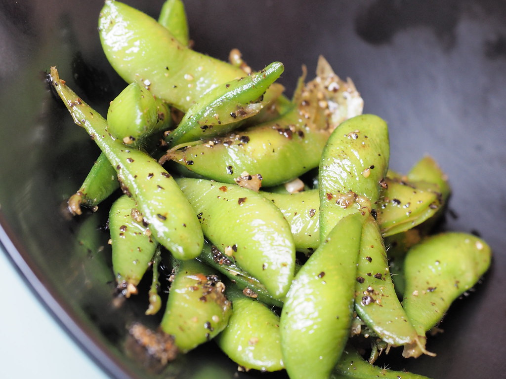 Edamame, another side dish at the steamboat restaurant