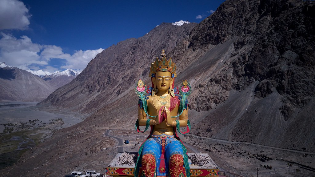 A large statue of the Maitreya Buddha sits in Diskit Gompa in Nubra Valley. 📷 by Cali