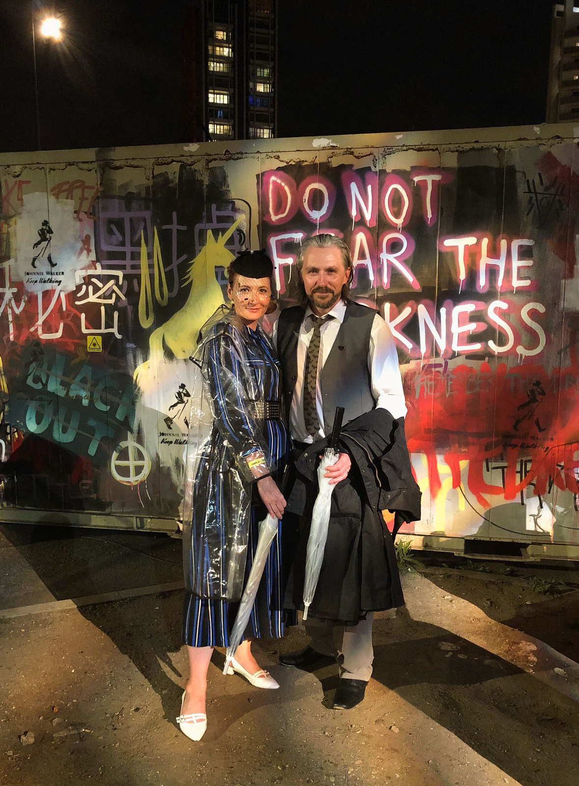 Futuristic 1940s Style Outfit for the Blade Runner Secret Cinema: striped shirt dress with pillbox hat and birdcage veil, clear raincoat (cosplay \ fancy dress \ costume) | Not Dressed As Lamb, over 40 style blog