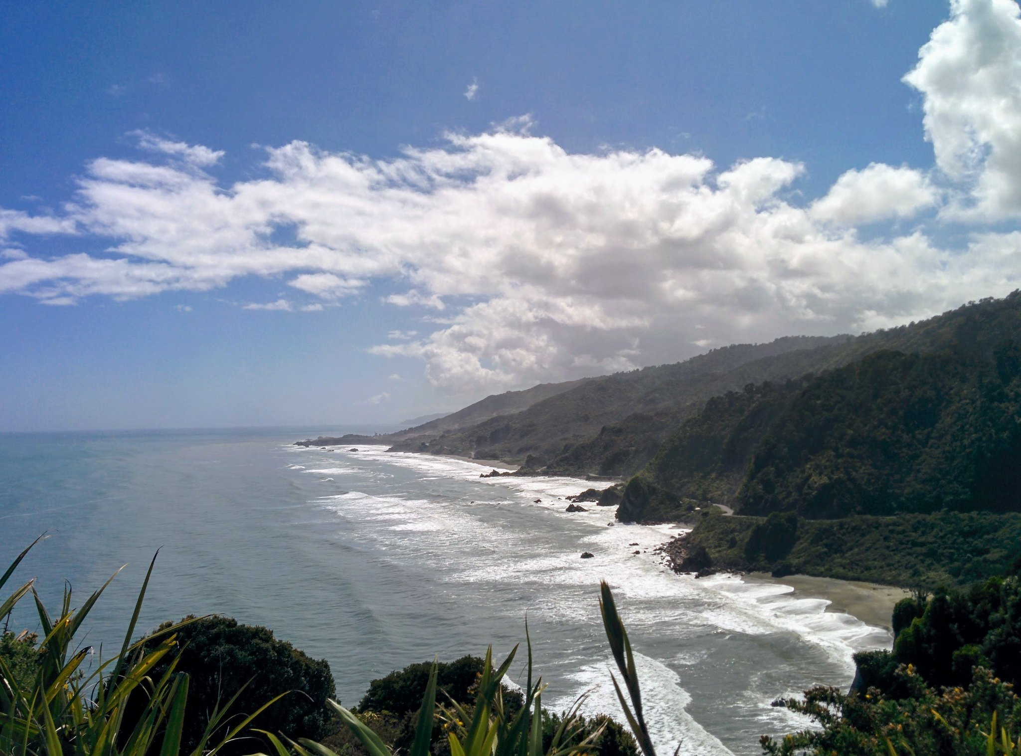 The shoreline south of Greymouth