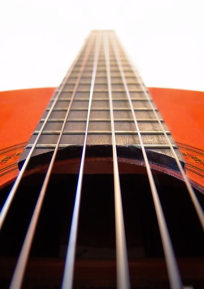 dramatic close-up of classical guitar