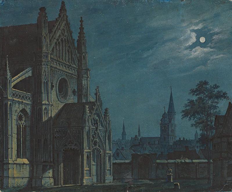 Carl Gustav Carus - Mondschein über dem Hof einer gotischen Kirche