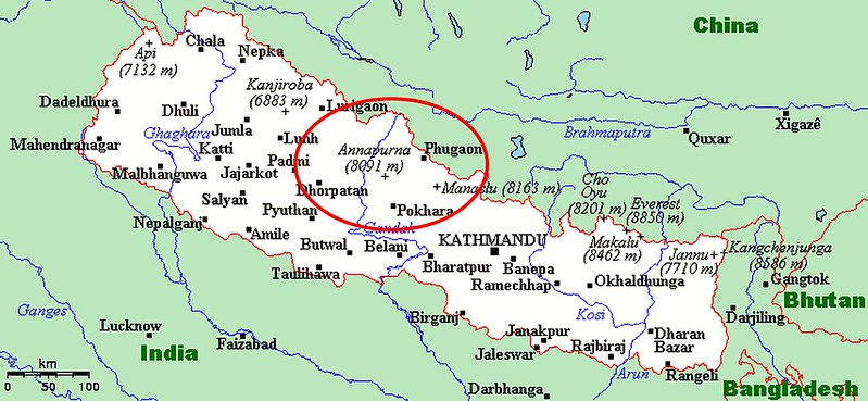 Map of Nepal with major towns and villages, showing where the Annapurna area in the western Central part of Nepal.