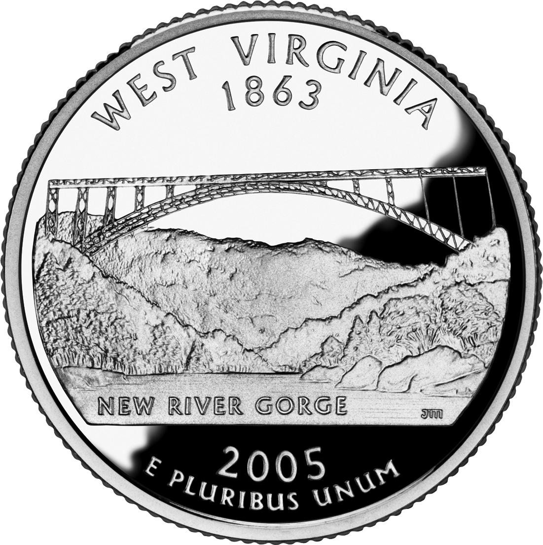 West Virginia state quarter picturing the New River Gorger Bridge. Engraved by John Mercanti, it was released on October 14, 2005, in a mintage of 721,600,000.