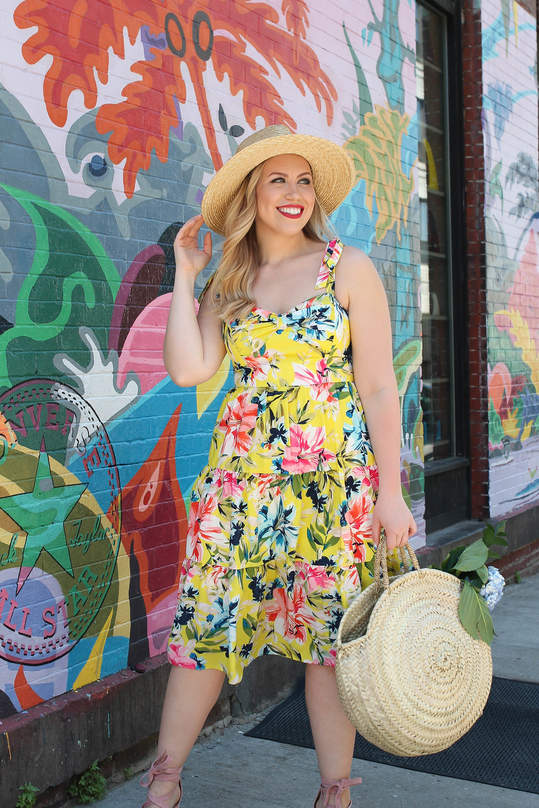 Eliza J Bow Front Tie Strap Dress Yellow Floral Dress Nordstrom Brixton Joanna Straw Hat Caterina Bertini Straw Circle Tote Summer Outfit Inspiration