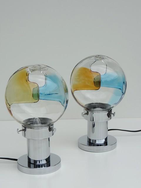 2 kaiser leuchten tischlampen nachttischlampen murano glas chrom 70er selten ebay. Black Bedroom Furniture Sets. Home Design Ideas