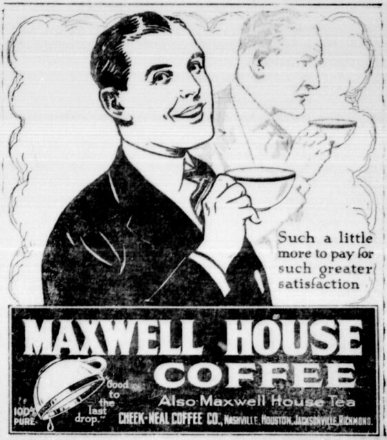 Maxwell house coffee newspaper 1921