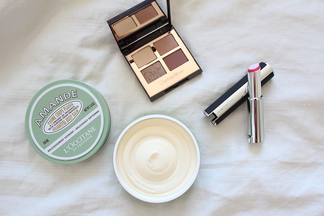 Review of Charlotte Tilbury Exagger-Eyes, L'Occitane en Provence Almond Delightful Body Balm, and Givenchy Le Rouge Liquid