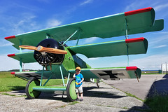 My son with Fokker Dr. I F-AZVD
