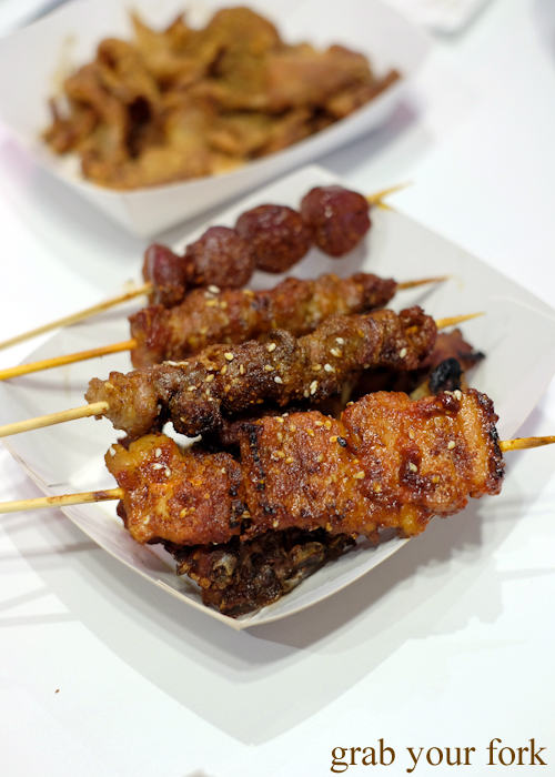Cantonese sausage; spice pepper with cumin lamb; pickled pepper beef brisket; and spicy bulgogi pork belly skewers at Granny Wolf BBQ in Central Park Mall Sydney