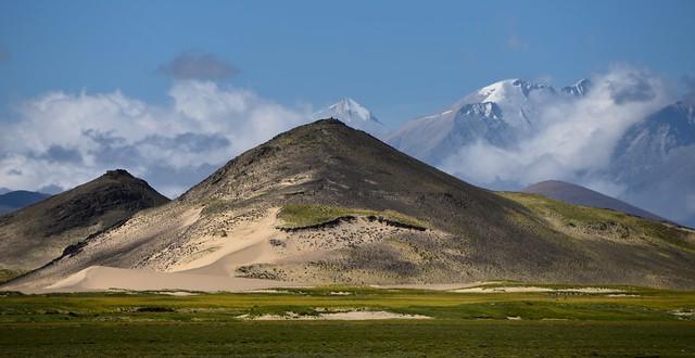 Desert sand dunes in the Tibetan Himalayas, Tibet 2017