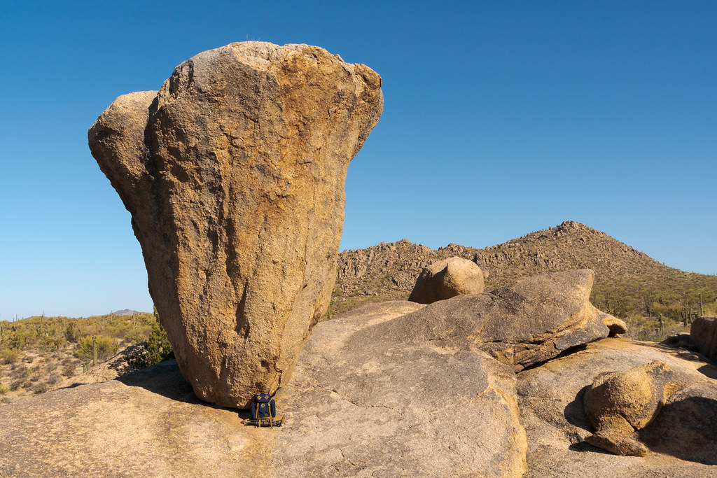 The Tom Bihn Guide's Pack sits underneath Balanced Rock in McDowell Sonoran Preserve