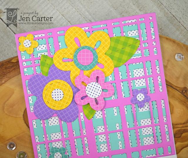 Jen Carter Perky Posies XL Perfectly Plaid Doodled Daisies Closeup
