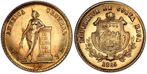 1855 Costa Rica half Escudo